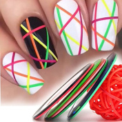8pcs/lot 1mm Colourful Nail Striping Tape Line Women Nail Art Stickers Decals DIY Manicure Tools Nail Tips Decorations