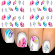 Sumanee FEATHER Nail Art Water Transfer Decal Sticker Rainbow Dreams bright colour sheet