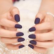 24pcs Deep Dark Purple False Nails Simple Beauty Kiss Nail Artificial Fake Nail Art Tips Hand Nails Z070