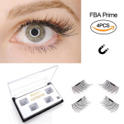 Magnetic False Eyelashes by Fstyle,Reusable Fake Eyelashes Natural Look,Eye lashes Extension Ultra Thin Fibre No Glue Allergy,Cruelty Free,1 Pair 4 Pieces Handmade