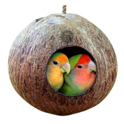 UNKE Coconut Shell Bird Nest House Hut for Pet Parrot Canary Finch Pigeon Cage Hamster Rat Gerbil Mice Cage Seed Feeder Toy Nesting Box