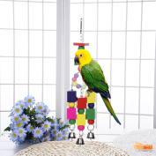 Birds Cage Stands Natural Colourful Wooden Bricks for Parrot Chewing Climbing Biting Bird Cage Decoration With Bells