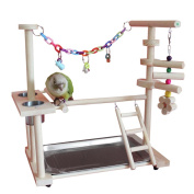 QBLEEV Parrot Wood Stand Perch Bird Playstand Playground Playgym Playpen Ladder with Toys Exercise Play (Include a Tray)