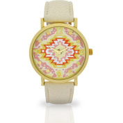 Women's Ivory Aztec Dial Watch, Faux Leather Band