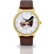 Women's Preppy Cat Dial Brown Watch, Faux Leather Band
