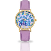 Women's Lavender Peacock Dial Watch, Faux Leather Band