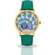 Women's Aqua Peacock Dial Watch, Faux Leather Band