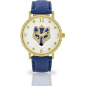 Women's Royal Fox Dial Watch, Faux Leather Band