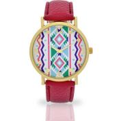 Women's Mauve Aztec Dial Watch, Faux Leather Band
