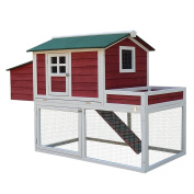 Pawhut 160cm Farmhouse Wooden Chicken Coop with Display Top, Run Area and Nesting Box