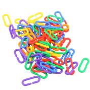 WinnerEco 100pcs Plastic C-clips Hooks Chain C-links Sugar Glider Rat Parrot Bird Toy