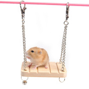PanDaDa Pet Wooden Hanging Swing Fun Toy With Bell Hamster Gerbil Rat Small Parrot Toy