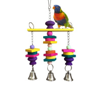 Parrot Hanging Swing Bells Chew Toy Colourful Hanging Wood Block Natural Birds Toy for Parrot Macaw African Greys Cockatiels Budgies Conure Cage