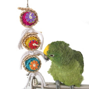 Pet Parrot Chewing Swing Toys with Rattan Ball String Hanging Rope Bells for Macaw African Greys Budgies