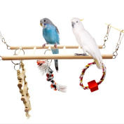 Parrot Wooden Bird Swing Parakeet Cage Hammock Hanging Toy for Small Parakeets Cockatiels Conures Macaws Parrots Love Birds Finches