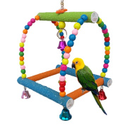 Large Bird Swing Toy for Parrot Macaw African Greys Budgies Cockatoo Parakeet Cockatiel Conure Lovebirds Finch Cage Perch Toy Paw Grinding Ladder