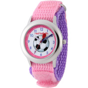 Red Balloon, Soccer Girls' Stainless Steel Watch, Pink Hook and Loop Nylon Strap with Purple Backing