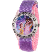 Disney Princess Belle and Beast Girls' Clear Plastic Time Teacher Watch, Purple Hook and Loop Nylon Strap with Pink Backing