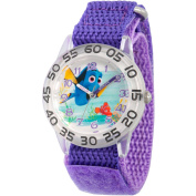 Disney Finding Dory, Nemo and Dory Girls' Plastic Time Teacher Watch, Purple Hook and Loop Nylon Strap