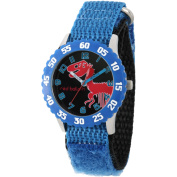 Red Balloon, Dinosaur Skeleton Boys' Stainless Steel Time Teacher Watch, Blue Bezel, Blue Hook and Loop Nylon Strap with Black Backing