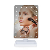 Lighted Makeup Mirror Dreamslink 22 Led Vanity Makeup Mirror with Touch Screen Dimming,180° Swivel Rotation Countertop Beauty Cosmetic Compact Mirror