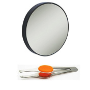 15X Magnification Suction Cup Mirror, Black, Round with Stainless Steel Tweezers