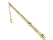 23cm 14k Two-tone Triple Strand Anklet (Smaller Ankles) in 14 kt Two Tone Gold