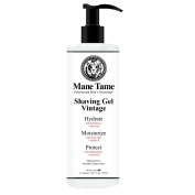 Mane Tame Shaving Gel 470ml Vintage Collection - Clear Natural Formula with Tea Tree, Aloe Vera, Vitamin E! Professional Barber Quality. Made in USA!
