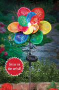 Solar Colourful Floral Wind Spinner Garden Stake, Multi