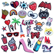 30PCS Iron On Patches Embroidered Appliques DIY Decoration or Repair,Sew On Patches for Clothing Backpacks Jeans Caps Shoes etc