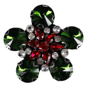 1piece Green Flower Beading Craft Crystal Rhinestones Sew on Appliques DIY Garment Sewing Accessories TH569