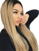 Fani Long Straight Blonde Wig Black Roots Ombre Wigs Full Wigs Heat Resistant Synthetic Wigs Party Wigs for Women