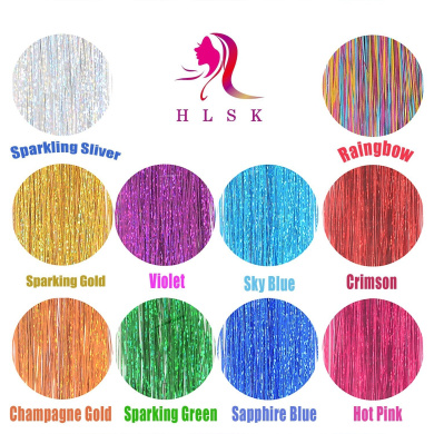 100cm Hair Tinsel 1000 Strands Ten Colour (Sparking Gold, Green, Hot Pink, Rainbow, Champagne Gold, Crimson, Sky Blue, Sapphire Blue, Silver, Violet)