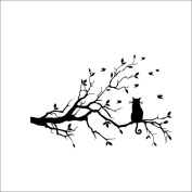 """Woaills """"Cat On The Tree Branch"""" Wall Sticker Medium Size Vinyl Art Decal For Kids Room"""