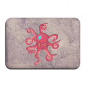 Cartoon Octopus Rectangular Doormat Made To Measure Decorate Thickness 2-inch(approx. 4.5 Cm) Memory Foam Welcome Mat