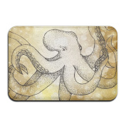 Big White Octopus With Tentacles Rectangular Doormat Slip-resistant Antiskid Thickness 2-inch(approx. 4.5 Cm) Point Plastic Anti-slip Base Outside Doormat