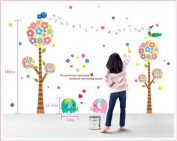 Anndeeson Colourful Flowers Tree with Bird Elephant Nursery Wall Sticker Child Room Decor