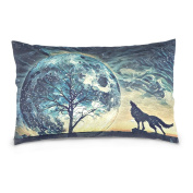 Double Sided Hand Drawn Colourful Fantasy Tree of Life and Wolf Cotton Velvet Cushion Cover Case 50cm x 70cm Sofa Couch Pillows Outdoor Pillows Decorative