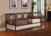 Twin Size Black Metal Day Bed Frame With Roll-Out Trundle, Headboard, Footboard, Rails & Slats