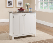 White & Marble Wood Contemporary Kitchen Island Serving Display Cabinet With Storage Doors & Shelves