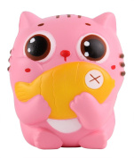 Anboor 11cm Squishies Cat Kitten Holding Fish Slow Rising Squishies Kawaii Scented Soft Animal Toys