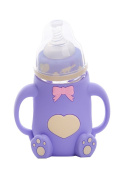 Reizbaby Anti-conic Glass Bottle Wide-neck Feeding Bottle with Straw for Toddlers