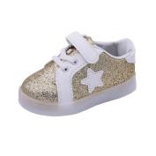 Kids Led Star Pedal Sneaker, Leedford Hook & Loop Luminous Toddler Baby Colourful Light Shoes