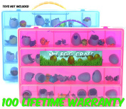 My Egg Crate Storage Organiser By Life Made Better - Compatible With The Hatchimals And Hatchimal Colleggtibles Brands - Durable Carrying Case For Mini Eggs, Easter Eggs & Speckled Eggs -Pink & Blue