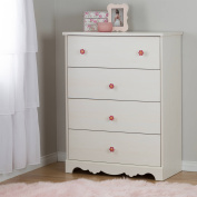 South Shore Lily Rose 4-Drawer Chest, White Wash