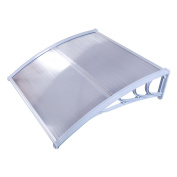 Zimtown 100cm x 70cm Outdoor Front Door Window Awning Patio Eaves Canopy PC Cover UV Rain Snow Protection-White & Grey