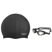 Zodaca Adult Adjustable Eye Protect Non-Fogging Anti UV Swimming Goggle+Silicone Elastic Swimming Hat Swim Cap - Black