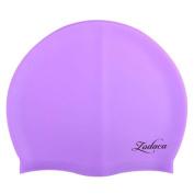 Zodaca Soft Silicone Elastic Flexible Durable Swimming Cap for Adult Men Women Unisex Swim Hat - Purple
