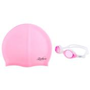 Zodaca Kids Child Adjustable Non-Fogging Anti UV Swim Swimming Goggles+Silicone Elastic Swimming Hat Swim Cap - Pink