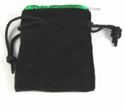 Black Velvet with Green Lining 10cm x 8.9cm Small Dice Bag Koplow Games